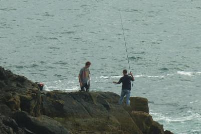 Fishing off Cable Bay, Rhosneigr