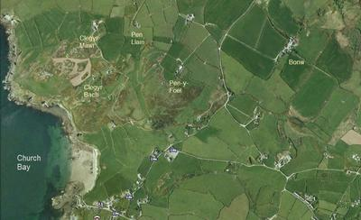 Aerial view of Porth Swtan and Richards farms.