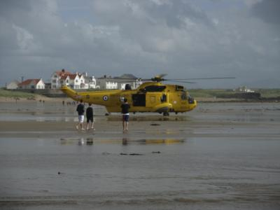 RAF Valley 22 Squadron Search & Rescue Helicopter Landed on Broad Beach, Rhosneigr