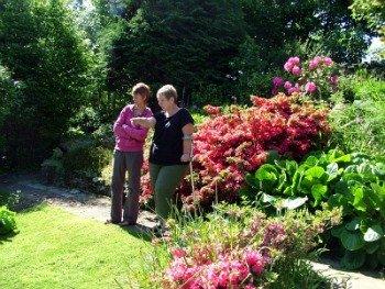 Wendy and Friend in Her Award Winning Garden